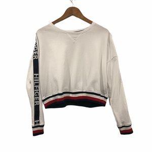 Tommy Hilfiger Cropped Shirt Logo Up Sleeve Medium